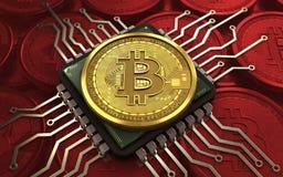 bitcoin 3d Computer-Chip stock abbildung