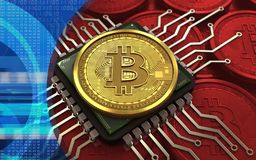 bitcoin 3d Computer-Chip Lizenzfreie Stockfotos