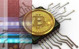bitcoin 3d Computer-Chip Stockbilder