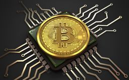 bitcoin 3d Computer-Chip lizenzfreie abbildung