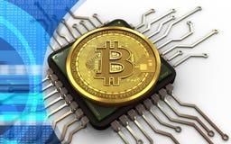 bitcoin 3d Computer-Chip Lizenzfreies Stockfoto