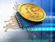 bitcoin 3d con el azul de la CPU stock de ilustración