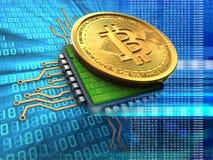 bitcoin 3d con el azul de la CPU Fotografía de archivo