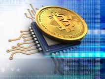 bitcoin 3d con el azul de la CPU Imagen de archivo libre de regalías