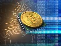 bitcoin 3d con il blu del CPU Illustrazione Vettoriale