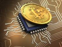 bitcoin 3d con il CPU Immagine Stock Libera da Diritti