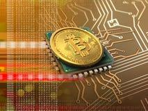 bitcoin 3d con l'arancia del CPU Fotografie Stock Libere da Diritti