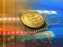 bitcoin 3d con l'arancia del CPU Fotografia Stock