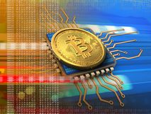 bitcoin 3d con l'arancia del CPU Immagini Stock