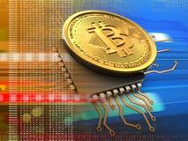 bitcoin 3d con l'arancia del CPU Immagini Stock Libere da Diritti