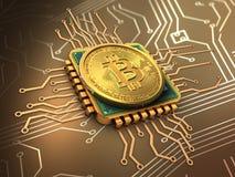 bitcoin 3d con l'oro del CPU Royalty Illustrazione gratis