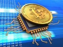 bitcoin 3d con l'oro del CPU illustrazione di stock