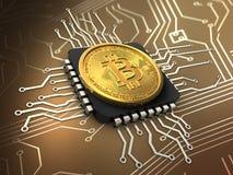 bitcoin 3d con la CPU stock de ilustración