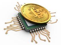 bitcoin 3d con la CPU libre illustration