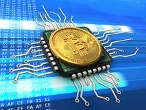 bitcoin 3d con la CPU Imágenes de archivo libres de regalías