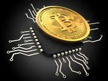 bitcoin 3d con la CPU Fotografía de archivo libre de regalías