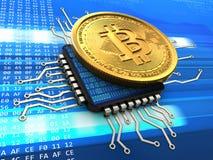 bitcoin 3d con la CPU ilustración del vector