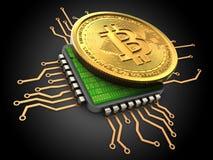 bitcoin 3d con la CPU Imagenes de archivo