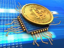 bitcoin 3d con la CPU Foto de archivo libre de regalías