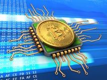 bitcoin 3d con la CPU Fotos de archivo libres de regalías