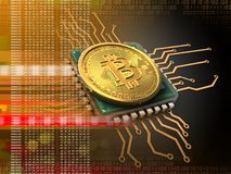 bitcoin 3d con la naranja de la CPU Fotografía de archivo