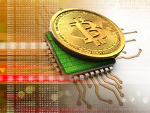 bitcoin 3d con la naranja de la CPU ilustración del vector