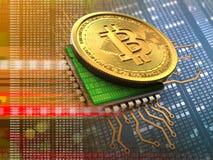 bitcoin 3d con la naranja de la CPU Imagenes de archivo