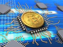bitcoin 3d con le unità di elaborazione Fotografie Stock