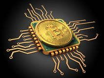 bitcoin 3d con oro de la CPU Fotografía de archivo