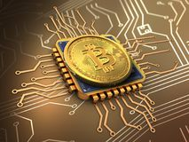 bitcoin 3d con oro de la CPU Imagenes de archivo