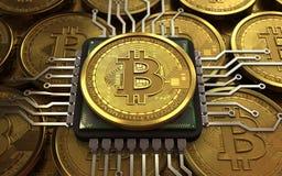 bitcoin 3d CPU Lizenzfreie Stockfotos