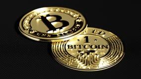 Bitcoin d'or Déformation de lentille et effet chromatique 3D macro r Image stock