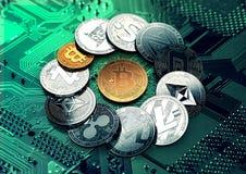 Bitcoin d'or et différents cryptos en cercle illustration de vecteur