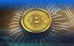 bitcoin 3d integrierter Chip Lizenzfreie Stockfotos
