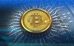 bitcoin 3d integrierter Chip Lizenzfreies Stockbild