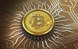 bitcoin 3d integrierter Chip Stockfoto