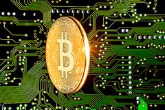 Bitcoin d'or a isolé Images stock