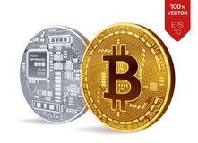 Bitcoin. 3D isometric Physical bit coin. Digital currency. Cryptocurrency. Golden and silver coins with bitcoin symbol. Bitcoin. 3D isometric Physical bit coin Royalty Free Stock Images