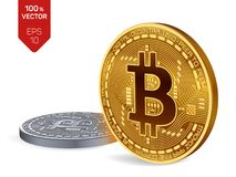 Bitcoin. 3D isometric Physical bit coin.   Golden and silver coins with bitcoin symbol isolated on white background. Bitcoin. 3D isometric Physical bit coin Stock Photos