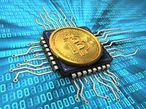 bitcoin 3d med CPU Royaltyfri Fotografi