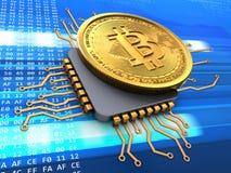 bitcoin 3d med CPU vektor illustrationer