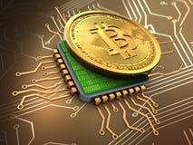 bitcoin 3d med CPU royaltyfri illustrationer