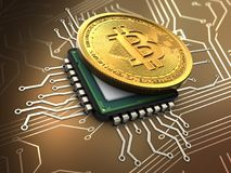 bitcoin 3d med CPU Arkivbilder