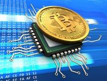 bitcoin 3d med CPU Arkivbild