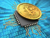 bitcoin 3d med CPU Arkivfoton