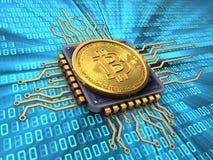 bitcoin 3d med CPU Royaltyfri Bild