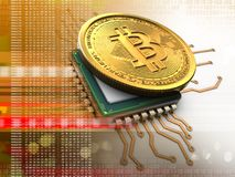 bitcoin 3d med CPU-apelsinen stock illustrationer