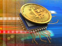 bitcoin 3d med CPU-apelsinen royaltyfri illustrationer