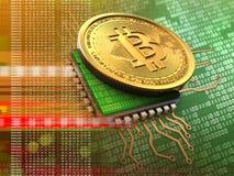 bitcoin 3d med CPU-apelsinen Royaltyfri Foto