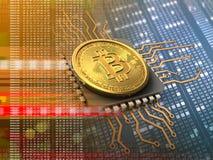 bitcoin 3d med CPU-apelsinen Arkivbilder